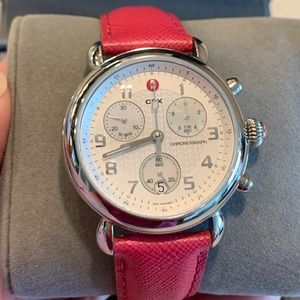 Pink Michele CSX Chronograph watch